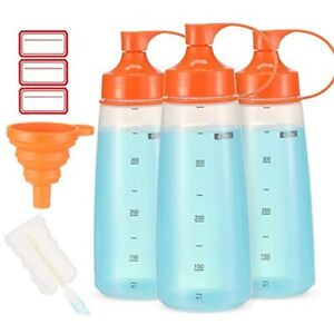 Condiment Squeeze Bottle Wide Mouth Ondiomn 3 Pack 400ml Empty Reusable Bottles