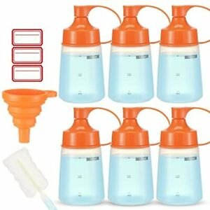 Condiment Squeeze Bottle Wide Mouth Ondiomn 6 Pack 180ml Empty Reusable Bottles