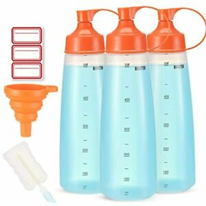 Condiment Squeeze Bottle Wide Mouth Ondiomn 3 Pack 550ml Empty Reusable Bottles