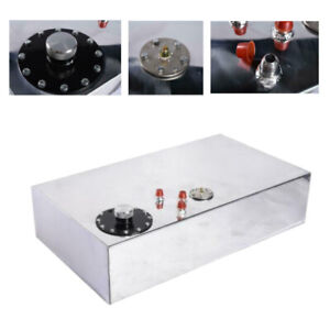 17 Gallon Top Feed Polished Aluminum Race Drift Fuel Cell Tank Level Sender Caps