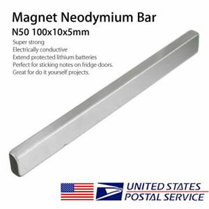 N50 Long Cuboid Block Bar Super Strong Rare Earth Neodymium Magnet 100x10x5mm Us