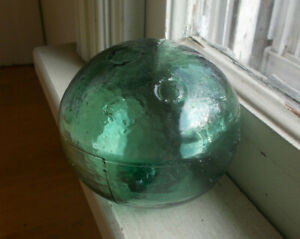 Green Hand Blown 3 Pc Mold Glass Net Float Ball With 3 Small Crude Circles