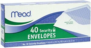Mead 10 Security Envelopes Diagonal Flap Security Lining 40 Count White