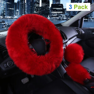 3pcs Car Steering Wheel Cover Furry Fluffy Universal Fur Wool Thick Claret 15