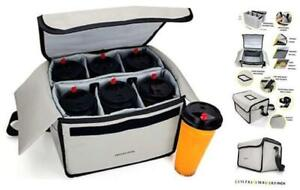 Insulated Drink Carrier For Drink Holder And Food Carrier Delivery Creamy White