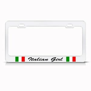 Metal License Plate Frame Italian Girl Italy Car Accessories Chrome
