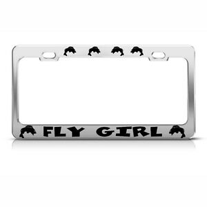Metal License Plate Frame Fly Girl Fish Fishing Car Accessories Chrome