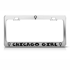 Metal License Plate Frame Chicago Girl Car Accessories Chrome