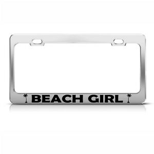 Metal License Plate Frame Beach Girl Car Accessories Chrome