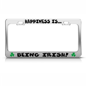 License Plate Frame Happiness Is Being Irish Chome Metal Car Accessories