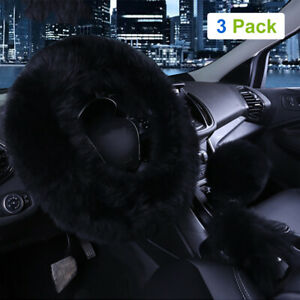 3pcs Car Steering Wheel Cover Furry Fluffy Universal Fur Wool Thick Black 15