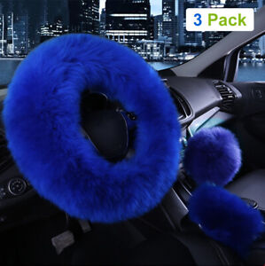 3pcs Car Steering Wheel Cover Furry Fluffy Universal Fur Wool Thick Blue 15