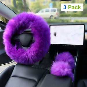 3pcs Car Steering Wheel Cover Furry Fluffy Universal Fur Wool Thick Purple 15