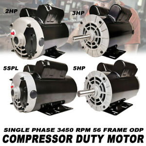 5 3 2hp 5 Spl 1ph 3450 Rpm Pro Electric Compressor Duty Motor 56 Frame Odp