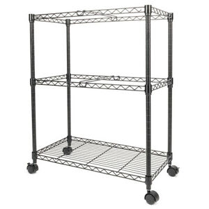 Two Tier Metal Rolling Mobile File Cart Carbon Steel Material Black Save Space