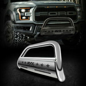 For 2004 2020 Ford F 150 Bull Bar Push Brush Bumper Grille Guard Silver 3 Steel
