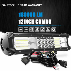 12 Inch Tri row Led Spot Flood Combo Work Light Bar Off Road Driving Lamp 14