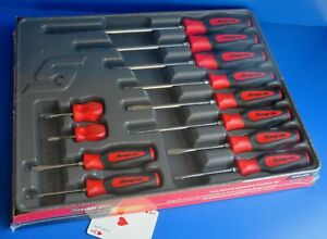 Snap on Tools 12 Piece Instinct Red Soft Grip Combination Screwdriver Set New