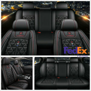 Black And Red Diamond Pu Leather Standard Edition 5 seats Car Seat Covers usa