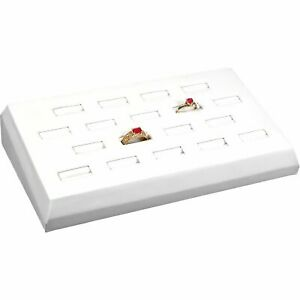 White Faux Leather 18 Ring Tray Jewelry Display Tray 8 1 4 X 4 1 2