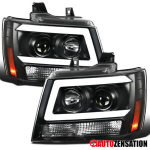 Black For 2007 2014 Chevy Tahoe Suburban Avalanche Projector Headlights led Bar