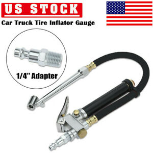 Tire Inflator With Pressure Gauge Dual Head Chuck Air Compressor W 1 4 Adapter