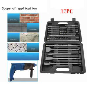 17 Pc Drill Bit Chisel Sds Plus Rotary Hammer Bits Set Fit For Bosch Hilti Plus