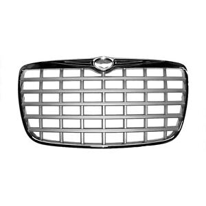 Cpp Chrome Shell W Silver Insert Grille Ch1200275 For 2005 2008 Chrysler 300