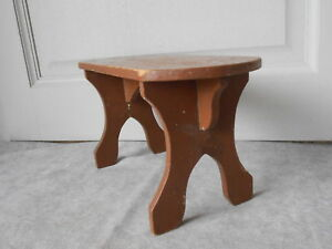 French Vintage Wood Hand Made Foot Stool