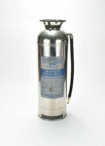 Vintage American Lafrance Soda Ash Stainless Steel Fire Extinguisher empty