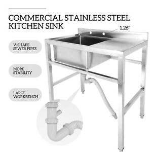 1 Compartment Stainless Steel Prep Sink Utility Sink Kitchen Sink Drain Board