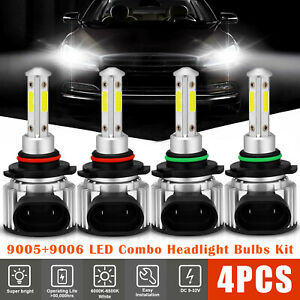 4pcs 9005 9006 Led Combo Headlight Kit Cree Cob 240w High Low Beam Light Bulbs