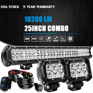 25 Dual Row Cree Led Work Light Bar 1620w Flood Spot Combo Offroad Driving Lamp