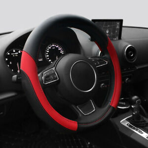 15 Car Steering Wheel Cover Pu Steering Wheel Protection Universal Fit red