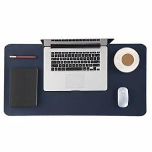 Genuine Leather Desk Pad Office Desk Mat Blotter On Top 15 7x31 5 Dark Blue