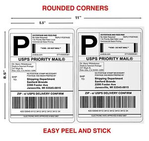 100 Paypal Shipping Postage Labels 2 Labels To Page 8 5x5 5 With round Edges