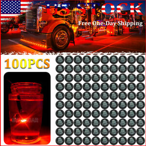 100x Push in 3 4 Round Clearence Marker Led Lights Truck Trailer Bullet Light