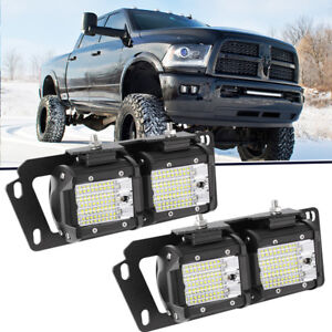 For Dodge Ram 2500 3500 Bumper Hidden Mount Bracket 4x Led Pod Flood Fog Lights