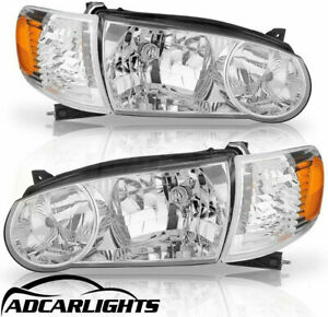 Fit For 2001 2002 Toyota Corolla Truck Headlights Chrome Left right Us Pair