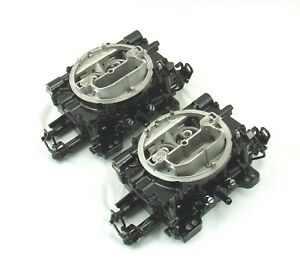 Pair Edelbrock 600 Cfm Dual Quad 2x4 Tunnel Ram Carbs Black