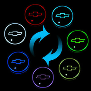 2x Led Car Cup Holder Light For Chevrolet 7 Colors Changing Usb Mat Luminescent