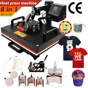 8 In1 Heat Press Machine 360 Swing Away T shirt Hat Mug Printing Press 11x15