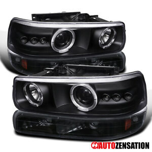 For 99 02 Silverado 00 06 Tahoe Led Halo Black Projector Headlights bumper Lamps