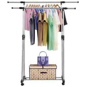 Stainless Steel Adjustable Clothes Drying Hanger Rolling Rail Garment Rack