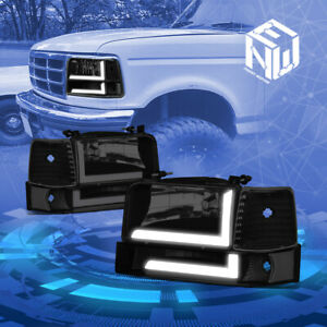 For 92 96 Ford F150 f350 6pcs Led Drl Black smoked Headlight signal bumper Lamps