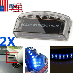 2pcs Solar Power 6led Car Fake Alarm Warning Security Anti Theft Flashing Light