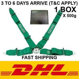 Takata 4 Point Snap on 3 Green With Camlock Racing Seat Belt Harness Universal