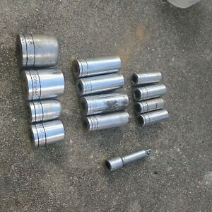 Sk Extension And Sockets 3 8 And 1 2 Drive 13pc Lot 6pt And 12pt Deep And Sha
