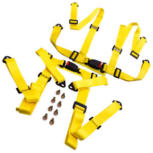 Pair Universal 4 Point Racing Seat Belt Safety Harness W Buckle Yellow