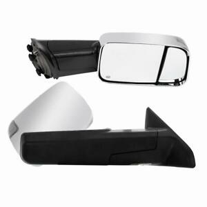Set For 2010 2011 2012 Dodge Ram 2500 Pickup Chrome Power Heated Towing Mirrors